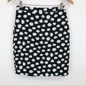 Loft Printed Pencil Skirt Polka Dot Black & White